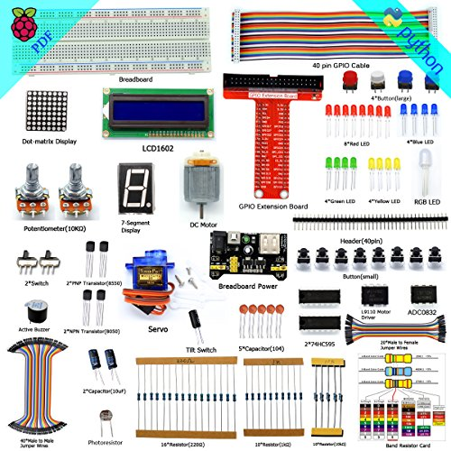 Adeept Super Starter Kit for Raspberry Pi 3, 2 Model B/B+, LCD1602, Servo, Motor, C and Python Code, Beginner/Starter Kit with User Manual/Guidebook (Python-starter-kit)