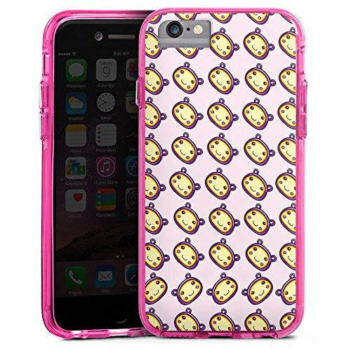 Apple iPhone 6s Bumper Hülle Bumper Case Glitzer Hülle Muster Pattern Kawaii Bumper Case transparent pink