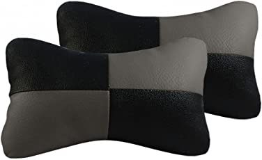 Flomaster Designer Seat Neck Cushion Pillow for Car (Black and Grey)