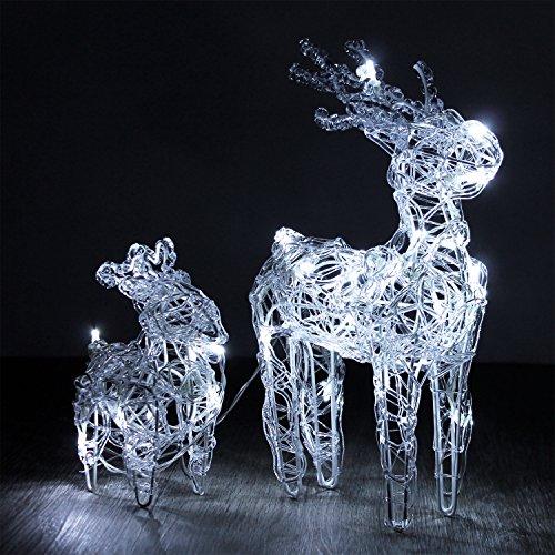 Multistore 2002 LED Rentier-Set 32 LEDs Metall Acryl Lichterkette Weihnachtsdekoration Weihnachtsbeleuchtung Festbeleuchtung Lichterschlauch