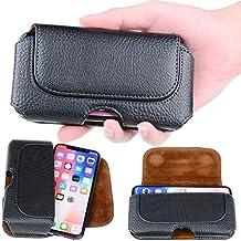 Semoss Universal Funda de Cinturón Clip Carcasa Piel para iPhone X / iPhone 10 con Broche Magnético compatible con Samsung Galaxy S7 Edge S6 S5 A3 A5 J3 J5 iPhone 7 6G 6S Huawei Honor 8,Negro,14.5 X 7.5 cm