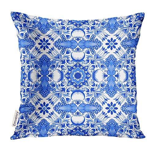 Cupsbags Throw Pillow Cover Delft Blue Watercolour Traditional Dutch Floral with Tulips Pomegranates Grape Bunches Acorns Decorative Pillow Case Home Decor Square 18x18 Inches Pillowcase - Delft Tulips