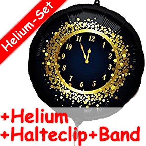 Carpeta Folienballon * Silvester FÜNF VOR 12 + Helium FÜLLUNG + Halter * // Geschenk Ballon Deko Uhr Frohes Neues Jahr schwarz Gold