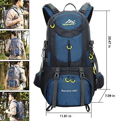 Imagen de 45l+5l impermeable  de senderismo con cubierta lluvia, paquete del alpinismo escalada marcha trekking camping deporte al aire libre unisex shenlan  alternativa