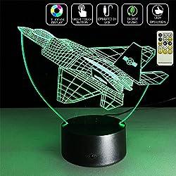 Deerbird® LED 3D Fighter Avion avion Interrupteur tactile Illusion d'optique télécommande Lampe de bureau Veilleuse avec 7 couleurs Changer pour Baby Festival Décoration cadeau