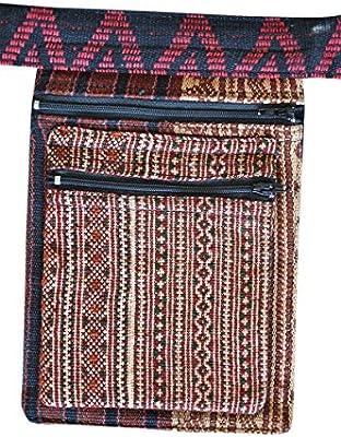 Cangurera virblatt, Bolsa de Cintura, Bolsa de Cadera con patrones tejidos y bordados de tribus de montañas asiáticas como moda hippie - Nagaland