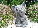 Steinfigur Katze, Gartenfigur Steinguss Tierfigur Basaltgrau