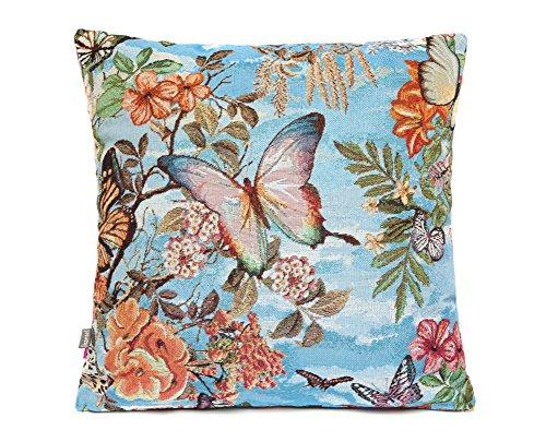 Kissen Butterfly Gobelin türkis mit Schmetterlingen und Blumen Mädchentraum -