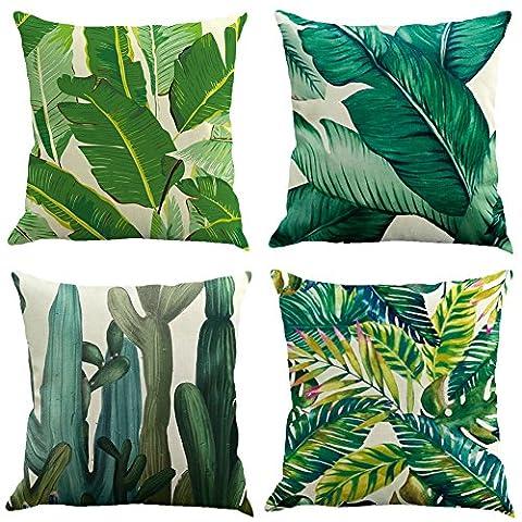 4 pcs Novelty Tropical plant pattern Linen Pillowcase Sofa Home Decor Cushion Cover 45x45cm