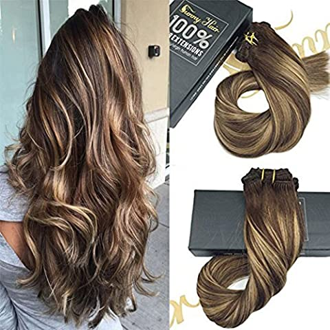 Sunny Dip and Dye Extension Cheveux Clip in Naturels 14 Pouces Remy Lisse Full Head Chatain Fonce mixed Caramel Blond Clip in Extensions 140gramme/set
