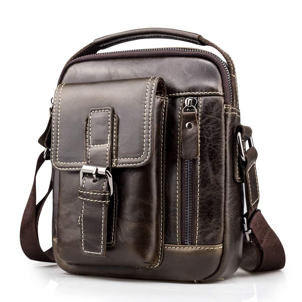61ArsfRoM0L - BAGZY Vintage Bolso Hombre Bolso de Hombre Bandolera Cuero Crossbody Bolso de Mano Bolsa de Cuero Messenger Hombre Piel…