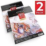 Blocco da Disegno Professionale Arteza 22,9x30,5 cm, Abum Da Disegno Spiralato da 80 Fogli 130g/m², Set da 2 Pezzi, Carta Bianca