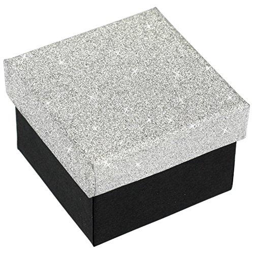 EYS JEWELRY® Schmuck-Etui für Ring 50 x 50 x 35 mm Kartonage silber-farben Ring-Box Schachtel Schatulle Geschenk-Verpackung EYSBOX Glitzer