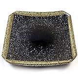 Japanische Keramik Quadratische Platte Für Sushi & Asiatische Küche - Schwarz Speckle Glasiertem Steingut - 19cm