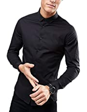 MANQ Men's Solid Slim Fit Formal/Party Shirt - 4 Colors