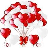 Palloncini Cuore Rosso,100 Pezzi Amore Cuore Lattice Palloncini Rosso Bianchi,Palloncini a Forma di Cuore Rossi per Valentine