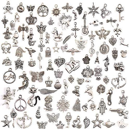 100 Stück Tibetischen Silber Mixed Charms Anhänger, DIY Basteln Charms Anhänger Halskette Armband Making Zubehör -
