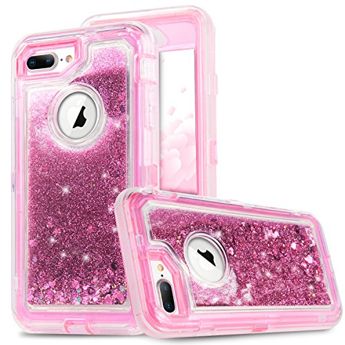 iPhone 8Plus Fall, iPhone 7Plus Fall, [vcosi] 3D Glitter Sparkle 3-lagiger Design Treibsand Liquid Bezug Klar stoßfest Bumper Fallsicherung für iPhone 7Plus/8Plus Heavy Duty Defense Shield, Rose