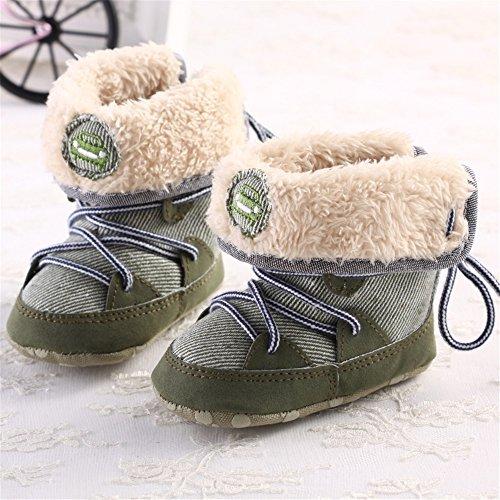 Sanreach De Pele Walker Bebê Da Sapatos Engatinhando Sapatos Verdes Quente Criança Inverno Sapatos Forradas Sapatos RXFrRq