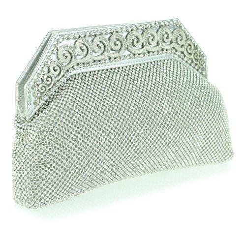 Frau Damen Abend Party Hochzeit Braut Abschlussball Kristall Diamant Strass Abnehmbare Kette Clutch Tasche Silber