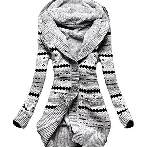 Minetom Donna Inverno Vello A Maglia Pulsante Maglioni Outwear Cardigan Tunica Felpe Con Cappuccio Maglieria Cappotti (IT 38, Grigio)