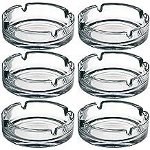 Lot de 6 Cendriers Extérieurs ronds en verre Résistant à la Chaleur de 11cm | Empilables | Avec 4 Emplacements pour Cigarettes | Lavables en Machine