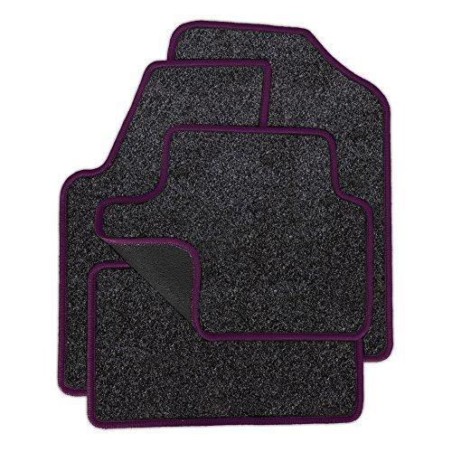Preisvergleich Produktbild Eight Tec Handelsagentur VMELET_04688 Passgenaue Nadelfilz-Fußmatten Grau-meliert und Rand in Lila - Fahrzeugtyp in der Artikelbeschreibung beachten!