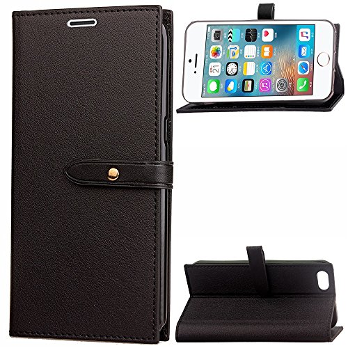 Business Style Mixed Farben Slim Design PU Ledertasche Brieftasche Stand Case [Shockproof] mit Niet Echt Leder Gürtel & Kickstand & Card Slots für iPhone 5s & SE ( Color : Wine ) Black