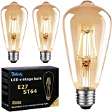 Ampoule LED Edison E27, Ampoule E27 Vintage ST64 6W 600LM Equivalent Incandescente 60W, 2700K Blanc Chaud Rétro Filament Ampo