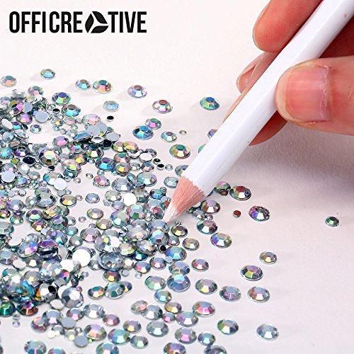 Emmo Lady Colorful Kristall Flache Rückseite Strass für Nägel, Bücher, Telefone, Kleidung, Schuhe und Tablets | 1,5mm–5mm Multi Große Deko Steinen mit Pick Up Pen.