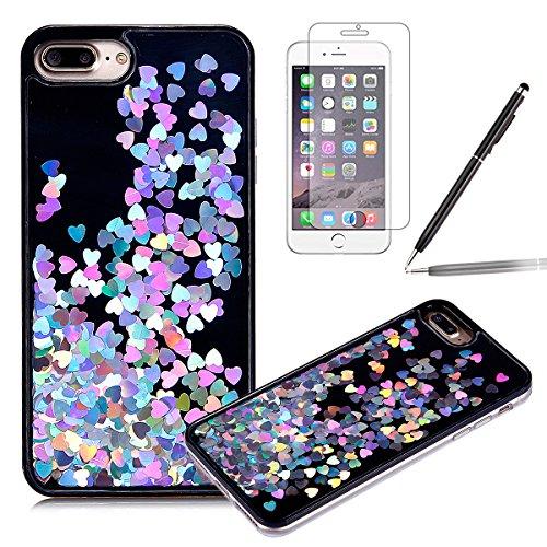 Felfy-iPhone-7-Plus-CoqueiPhone-7-Plus-Etui-Transparent-3D-Creative-Housse-Coque-Hard-Plastic-Liquide-Coque-Bling-Etui-Plastic-Case-Cover-tui-de-protection-Housse-Cristal-dur-Plastique-Cover-Transpare