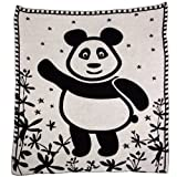 SonnenStrick 30097 Panda Babydecke/Erstlingsdecke/Schmusedecke/Schlafdecke aus 100% Bio Baumwolle kba 80 x 80 cm, schwarz