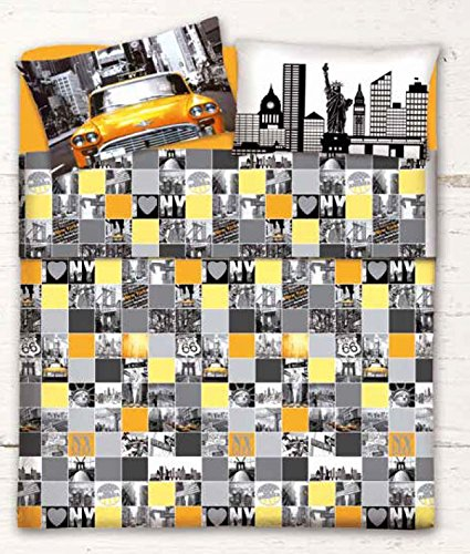 Centesimo web shop telo arredo copritutto 2 misure prodotto italia foulard multiuso copridivano copripoltrona fantasia cittÀ new york america usa giallo grigio - 250x290 cm giallo