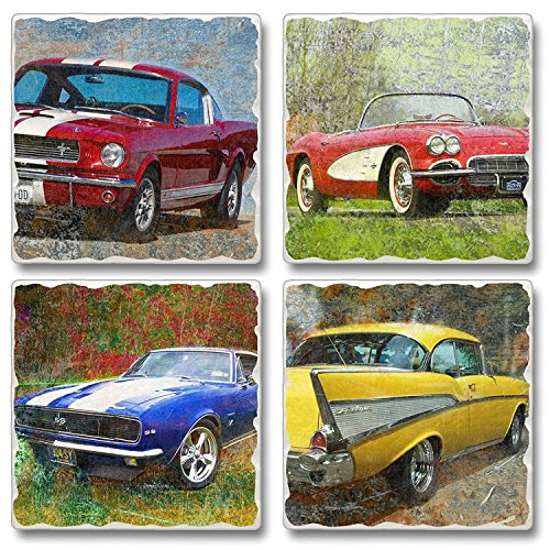 Classic Cars Square Assorted Tumbled Stone Coaster Set of 4, Highland Graphics by Highland Graphics -