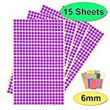 BEST-SELLING Pack of 7140 x 6mm Round Coloured Easy Peel Self Adhesive Dot Stickers for Colour Coding Calendars, DVDs, School Books – Choice of 12 Colours - 15 SHEETS of High Quality Sticky Dots (Purple)