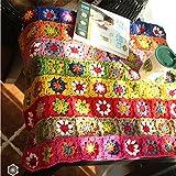 Ganchillo hecho a mano flores mantel Camino de mesa, para tejer sofá cojín manta para bebé, 80x60...