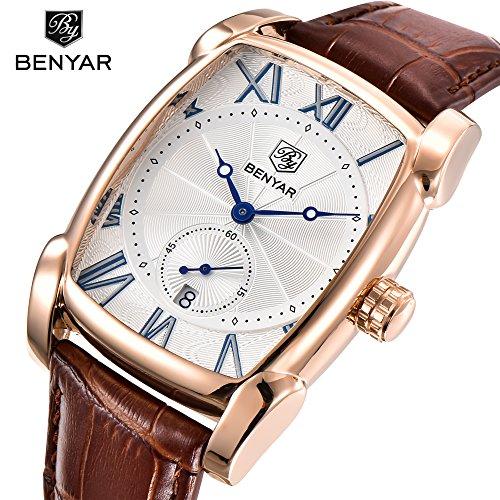benyar Herren Armbanduhr Classic Rechteck römische Zahl Zifferblatt Vintage elegante Leder Business Casual Elegant Gorgeous Armbanduhr