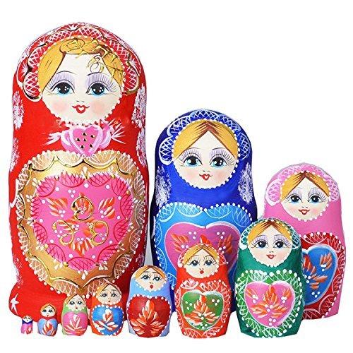 Winterworm Set de 10Sweet corazón apilamiento juguete ruso muñeca hecho a mano de madera juguete para niños Nursery Room Decor