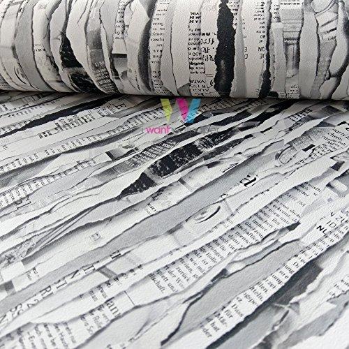 Rasch Zerissener Zeitung Zeitschriften Muster Tapete Streifen Motiv Realistisch - Schwarz Weiß 934717