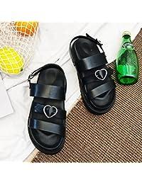 LGK&FA Muffin Inferior Grueso Zapatos Sandalias Estudiantes Fondo Plano Zapatos De Mujer Casual. 36 Negro