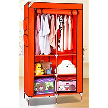 Evana 3 Feet Creative Orange Cabinet,Easy Installation Folding Wardrobe Cupboard Almirah Foldable Storage Rack Collapsible Cloths Organizer