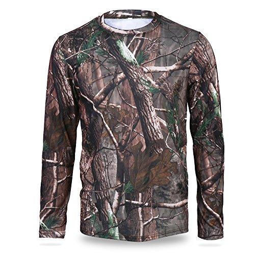 VGEBY Camouflage T-Shirt Langarm atmungsaktiv Sweatshirt Dschungel Baum Kleidung für Camping Jagd Outdoor-Aktivitäten(M)