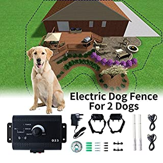 AUCOS Invisible Wired Elektrische Hund Zaun - Rainproof Honden Fence with Water Resistant Receiver Kraag Safe Harmless Outdoor Fence for 2 Dogs (2 Dogs)