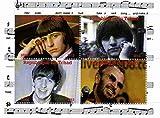 Die Beatles Briefmarken - Ringo Starr - 4 Fotos des legendären Beatle - Mint und postKleinBogen mit 4 Marken