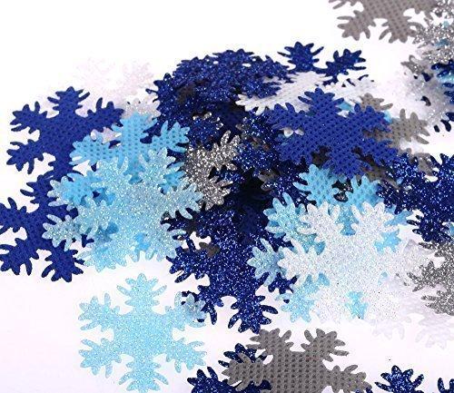 100 Ornamenti di tessuto a forma di fiocco di neve color blu, argento e bianco glitterati, per Scrapbooking, Artigianato, Cucito, Creazione di biglietti