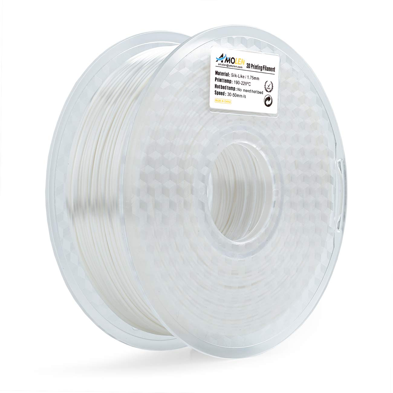 AMOLEN PLA Imprimante 3D Filament, Soie 1.75mm 225G,+/- 0.03 mm Matériaux d'impression 3D en filament, comprend des échantillons de Filament.