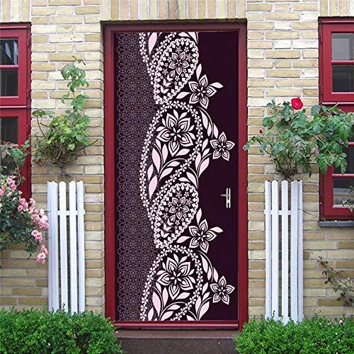 Türaufkleber Neue Muslim Islamischen Blume Reben Tapete Für Tür Eid Home Art Wandmalerei Dekoration Selbstklebende Aufkleber 77x200cm (Blume Kind 1960)