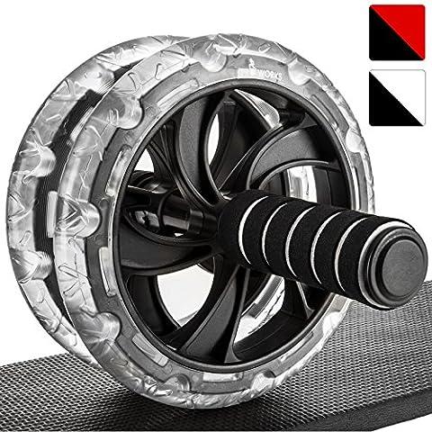 Proworks Roulette Pour Exercices D'Abdos I Double Abdominale Machine Avec Tapis Pour Musculation et Activités Sportives - Noir / Blanc