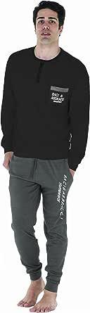 Baci & Abbracci Pigiama Uomo Invernale Lungo 100% Caldo Cotone Interlock in Scatola Idea Regalo di Natale Pigiama Uomo Cotone Lungo Adulto Ragazzo Fantasie Eleganti Abbigliamento Casa Taglie Forti