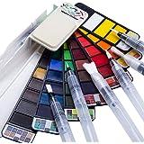 Fuumuui Ensemble de peinture aquarelle 42 couleurs avec ensemble de 6 pinceaux pour stylo aquarelle, pour les débutants, les